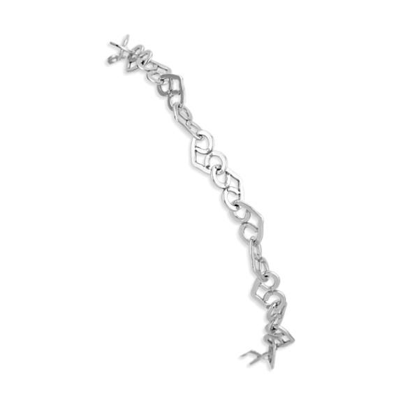 """Interlocking Heart Bracelet in Sterling Silver (7.5"""")"""