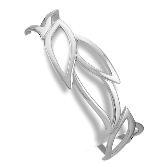 "Leaf Sterling Silver Cuff Bracelet (7"")"