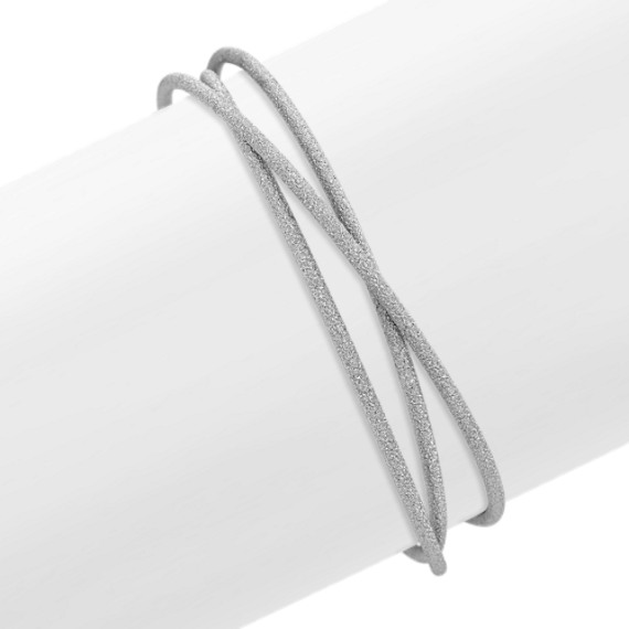 Linked Trio Stardust Bangle Bracelet in Sterling Silver (7.5)
