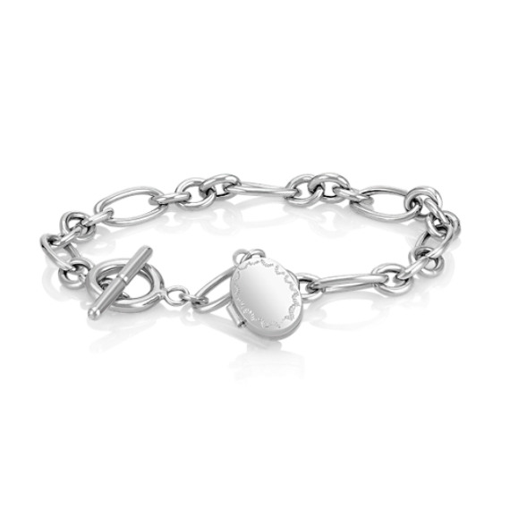 Locket Link Bracelet in Sterling Silver (7.5)