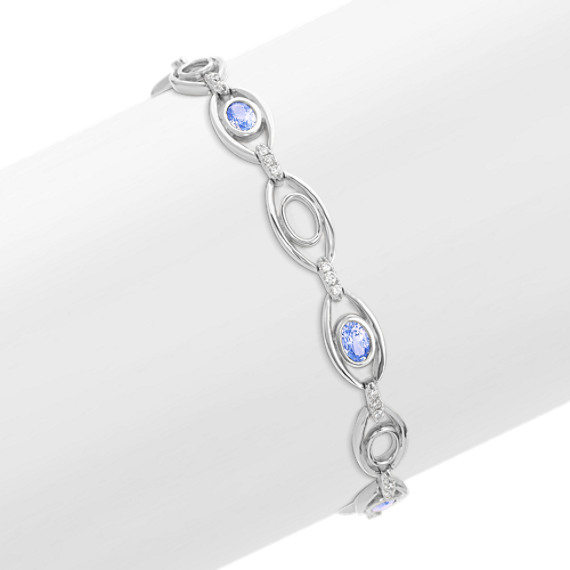 "Oval Ice Blue Sapphire and Diamond Bracelet (7"")"