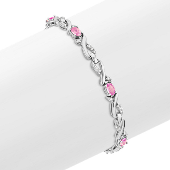 Oval Pink Sapphire and Diamond Bracelet (7)