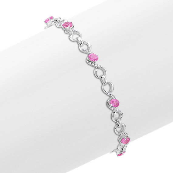"Oval Pink Sapphire and Diamond Bracelet (7.5"")"