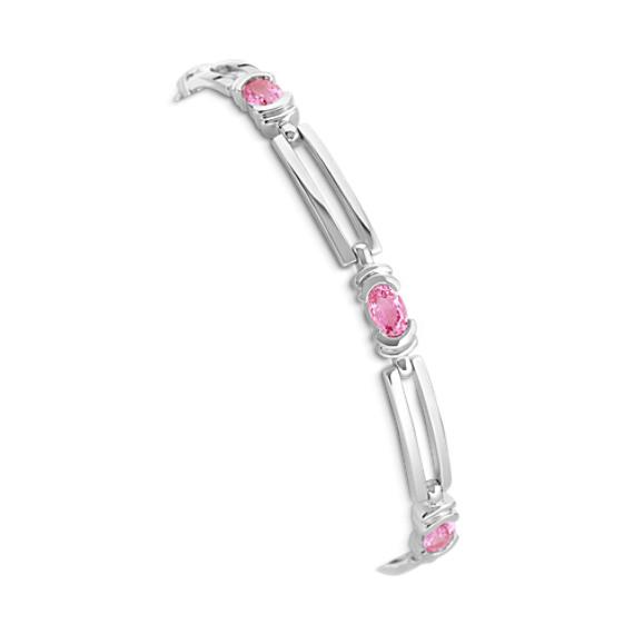 """Oval Pink Sapphire Bracelet (7.5"""")"""