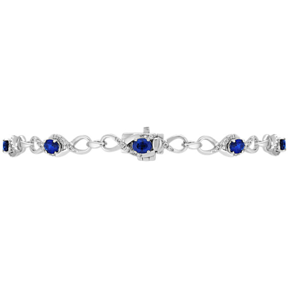 "Oval Sapphire and Diamond Bracelet (7"")"