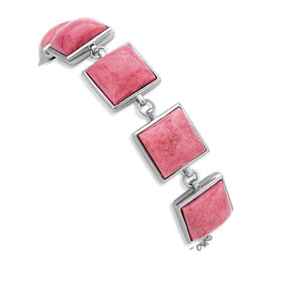 "Pink Rhodonite and Sterling Silver Bracelet (7.5"")"