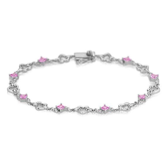 "Princess Cut Pink Sapphire and Diamond Heart Bracelet (7"")"