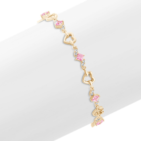 Princess Cut Pink Sapphire and Diamond Heart Bracelet (7)