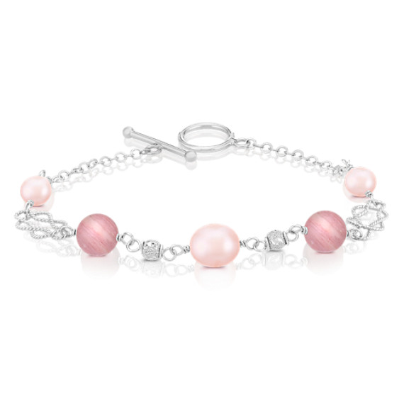 Rhodonite, 6.5-9mm Pink Cultured Freshwater Pearl, and Sterling Silver Bracelet (8)