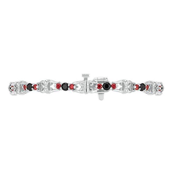 "Round Black Sapphire and Ruby Bracelet (7"")"