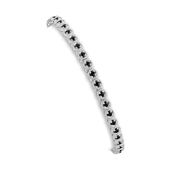 "Round Black Sapphire Bracelet (7"")"