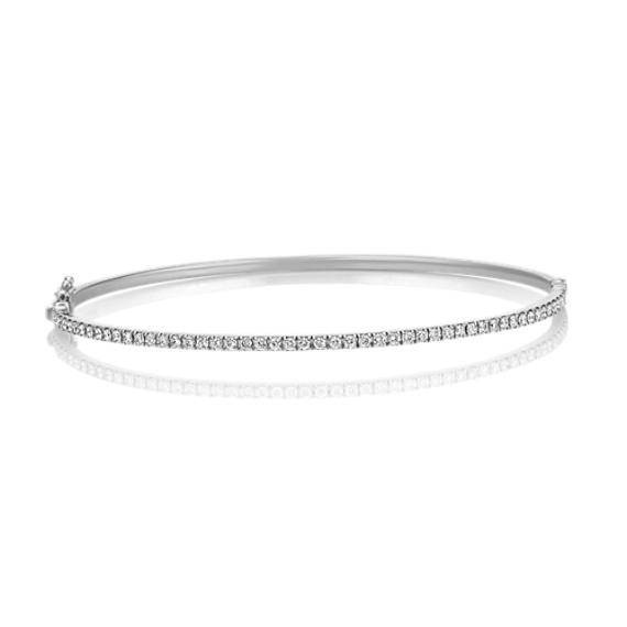 Round Diamond Bangle Bracelet in White Gold (7)