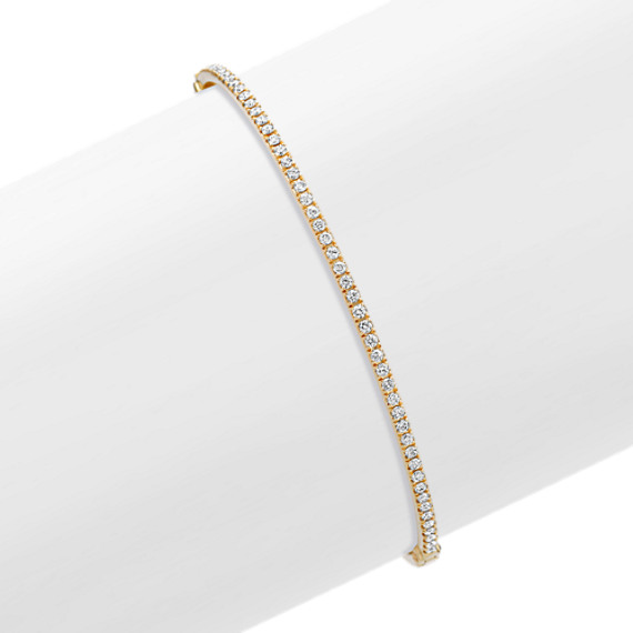 Round Diamond Bangle Bracelet in Yellow Gold (7)