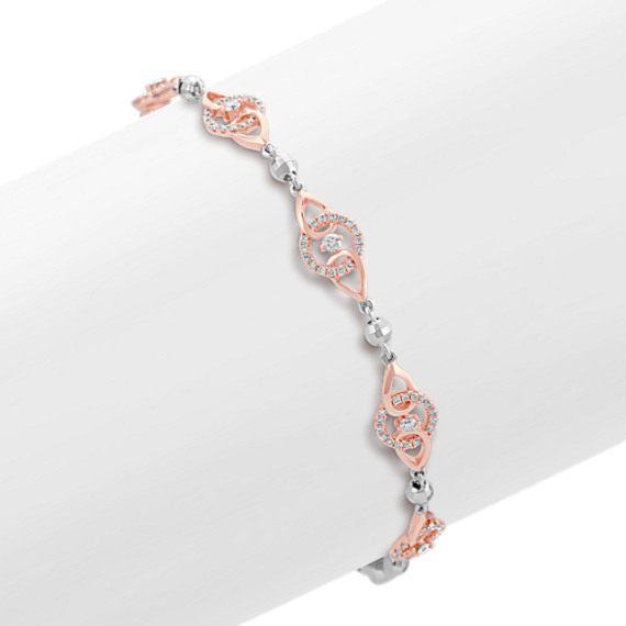 Round Diamond Bracelet in 14k Rose and White Gold (7.25)
