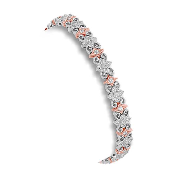 Round Diamond Bracelet in 14k White and Rose Gold (7)
