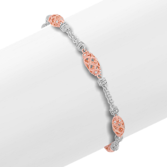 "Round Diamond Bracelet in 14k White and Rose Gold (7"")"