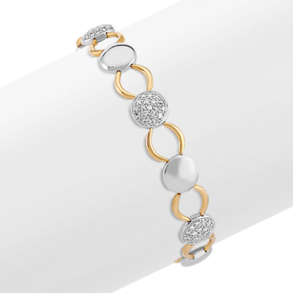 Round Diamond Bracelet in Two-Tone Gold (7.5)