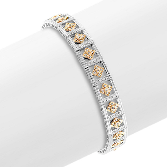 "Round Diamond Bracelet in Two-Tone Gold (7"")"