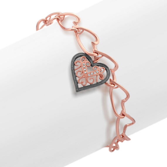 "Round Diamond Heart Bracelet in 14k Rose Gold (7"")"