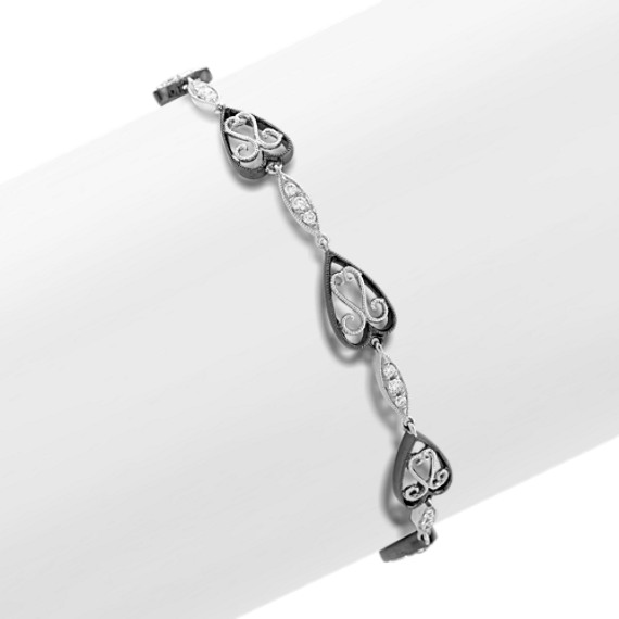 "Round Diamond Heart Bracelet (7"")"