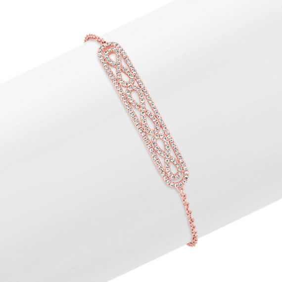 "Round Diamond Infinity and Bar Bracelet in 14k Rose Gold (7"")"