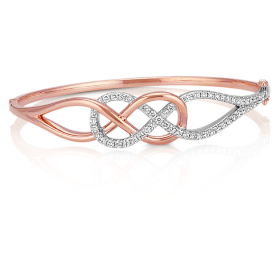 "Round Diamond Infinity Bangle in Sterling Silver and 14k Rose Gold (8"")"
