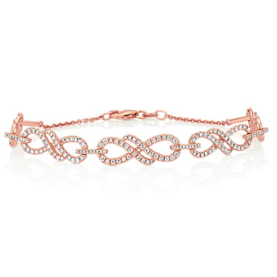 "Round Diamond Infinity Bracelet in 14k Rose Gold (7"")"
