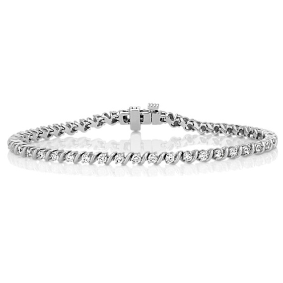 "Round Diamond S Link Tennis Bracelet in 14k White Gold (7"")"