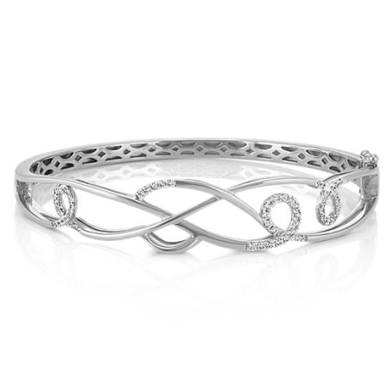 "Round Diamond Swirl Bangle Bracelet in 14k White Gold (7"")"