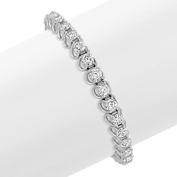 Round Diamond Tennis Bracelet in White Gold (7)