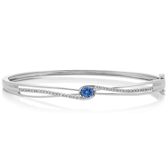 Round Kentucky Blue Sapphire and Diamond Bangle in 14k White Gold (7.5 in.)