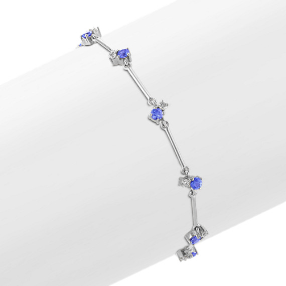 "Round Kentucky Blue Sapphire and Diamond Bracelet (7.5"")"