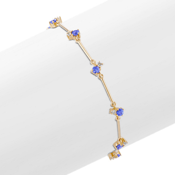 Round Kentucky Blue Sapphire and Diamond Bracelet (7.5)