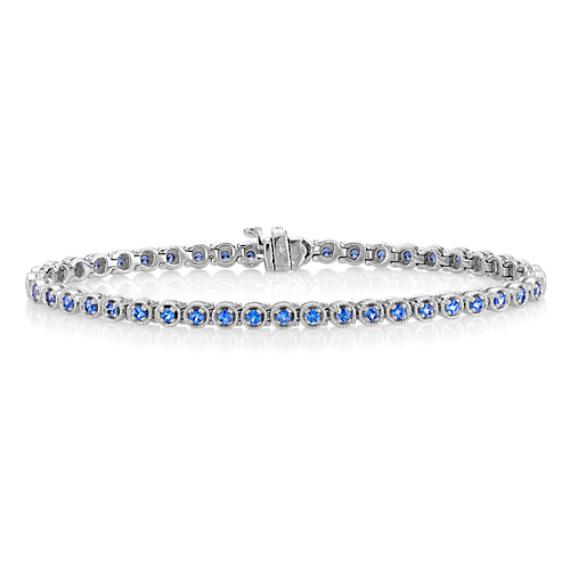 "Round Kentucky Blue Sapphire Bracelet (7"")"