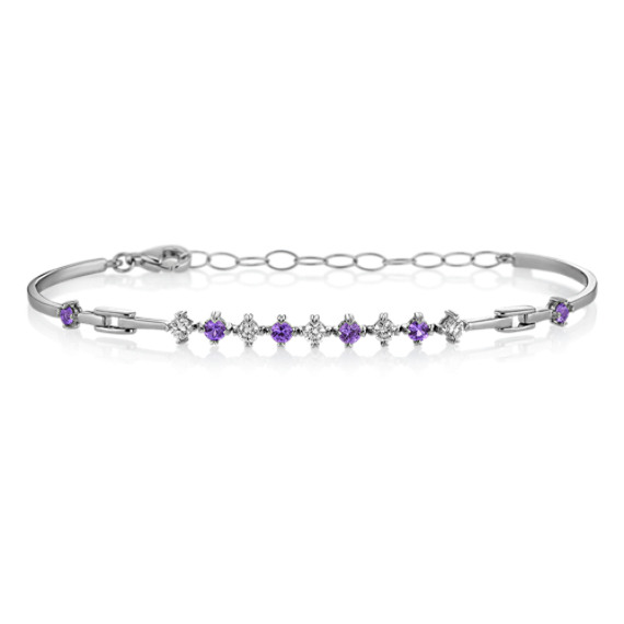 "Round Lavender Sapphire and Diamond Bracelet (7"")"
