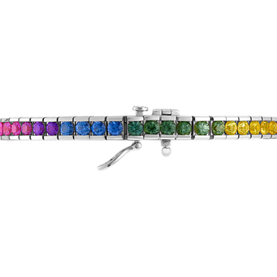 Round Multi-Colored Sapphire Bracelet (7)