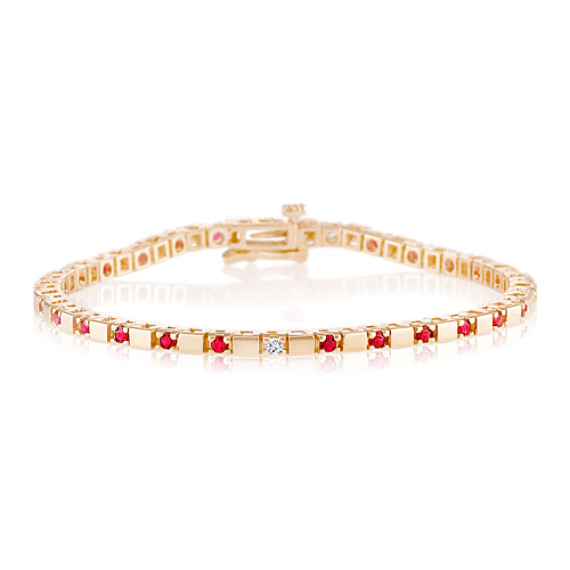 Round Ruby and Diamond Bracelet (7)