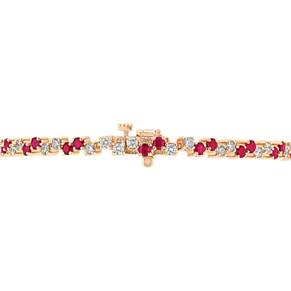 "Round Ruby and Diamond Bracelet (7"")"