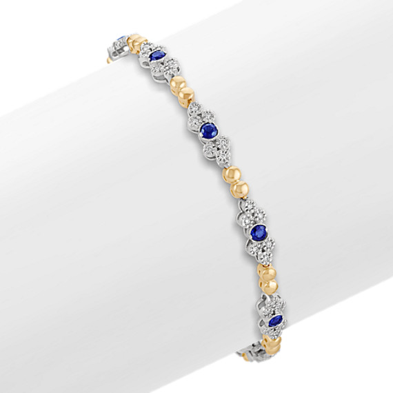 "Round Sapphire and Diamond Bracelet in Two-Tone Gold (7"")"