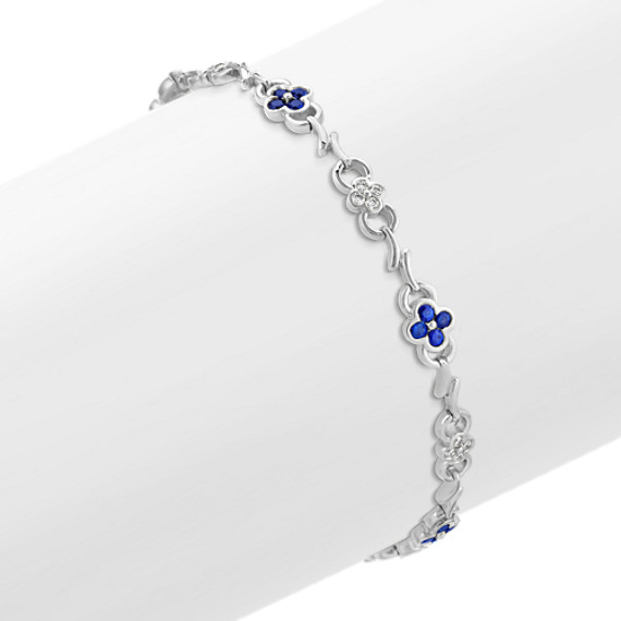 "Round Sapphire and Diamond Bracelet (7"")"