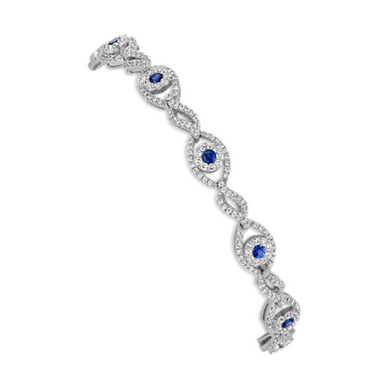 "Round Sapphire and Diamond Fashion Bracelet (7.25"")"