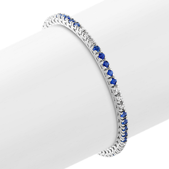"Round Sapphire and Diamond Tennis Bracelet (7"")"