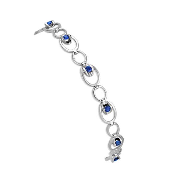 Sapphire Circle Link Bracelet (7.5)