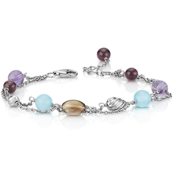 Sea Blue Agate, Amethyst, Smoky Quartz and Garnet Bracelet in Sterling Silver (7.5)