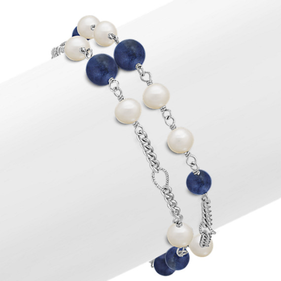 "Sodalite, 6mm Cultured Freshwater Pearl and Sterling Silver Bracelet (7.5"")"