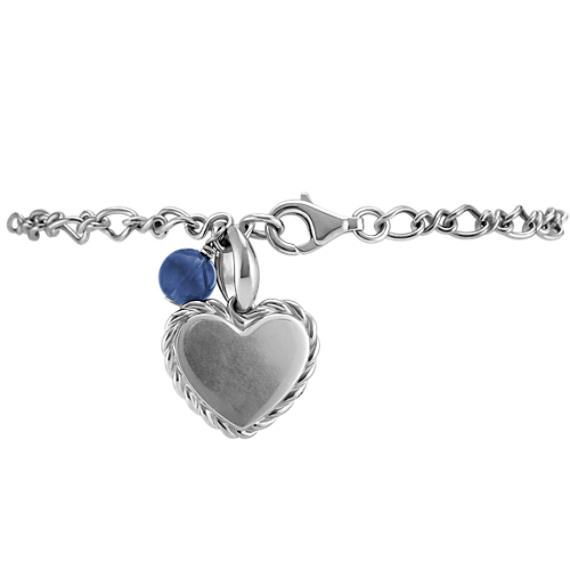 "Sodalite and Sterling Silver Heart Bracelet (7.5"")"