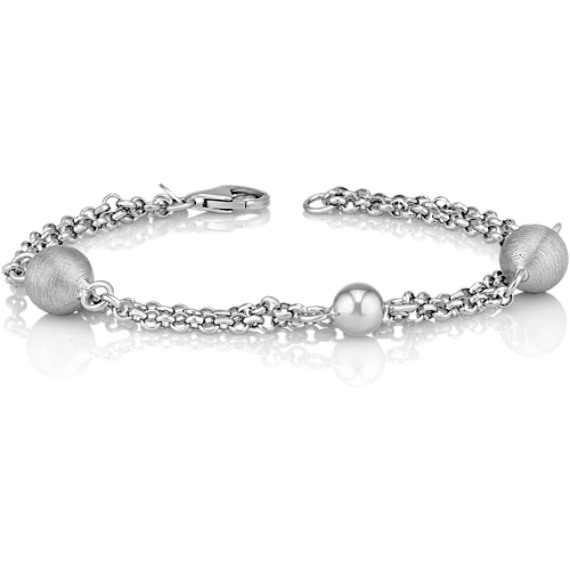 "Sphere Accent Sterling Silver Bracelet (7.5"")"
