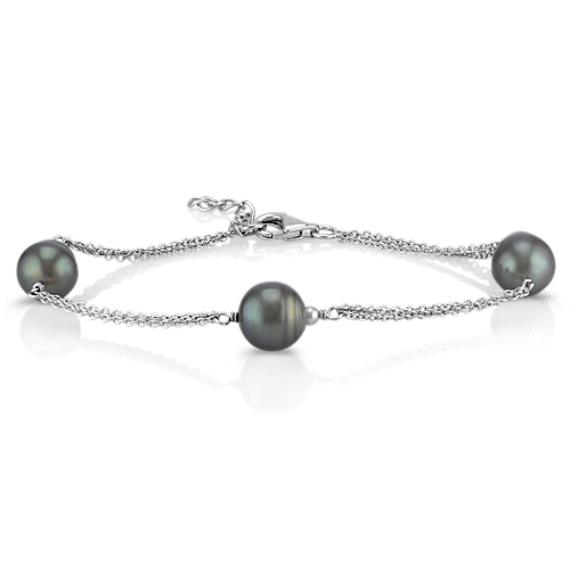 Sterling Silver and 9mm Cultured Tahitian Pearl Bracelet (7.5)