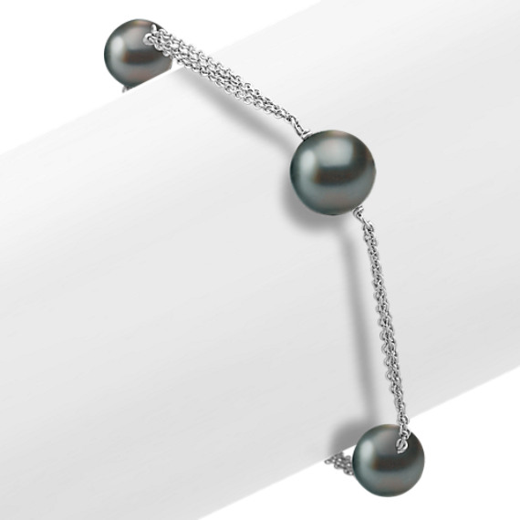 "Sterling Silver and 9mm Cultured Tahitian Pearl Bracelet (7.5"")"