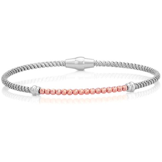 "Sterling Silver and Rose Sterling Silver Bracelet (7.5"")"